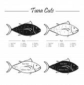 stock photo of full cheeks  - illustration of Tuna meat cut - JPG