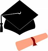 University Graduation Hat and Diploma