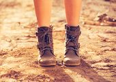 Stylish Boots, Close up view of woman wearing stylish boots on dusty road