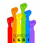 picture of transgender  - illustration of people showing LGBT support in rainbow color background - JPG