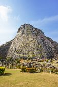 Carved Golden Buddha Image On The Cliff At Khao Chee Jan, Pattaya, Thailand