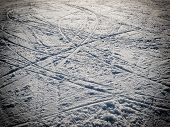 image of nordic skiing  - Lot of ski traces on the ski slopes - JPG