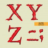art sketched set of vector character classic and doodle fonts, uppercase symbols, signs X, Y, Z, period, comma, dash