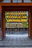 Entrance To Shinto Shrine With Rows Colourful Paper Lanterns, Kyoto, Japan