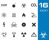 vector black danger icons set