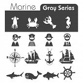 stock photo of lobster boat  - Marine Icons Gray series - JPG