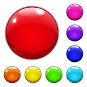 Set Of Big Multicolored Glass Buttons