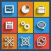 Set of 9 vector universal web and mobile icons in flat design.