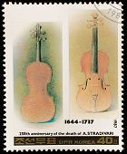 NORTH KOREA - CIRCA 1987: A stamp printed in North Korea shows Stradivarius violin, series Famous Co