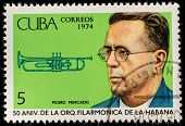 CUBA - CIRCA 1974: A stamp printed in the Cuba, shows the portrait of a musician - Pedro Mercado, ci