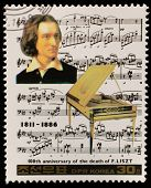 NORTH KOREA - CIRCA 1987: A stamp printed in North Korea shows Franz Liszt (1811-1886), series Famou
