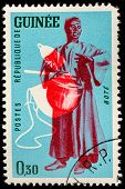 GUINEA CIRCA 1962: stamp printed by Guinea, shows Musical Instrument, Bote, circa 1962