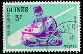 GUINEA CIRCA 1962: stamp printed by Guinea, shows Musical Instrument, Koni, circa 1962