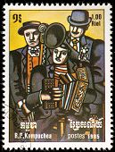 Kampuchea-CIRCA 1985: A stamp printed in the Kampuchea, depicts a musicians bayanists, circa 1985