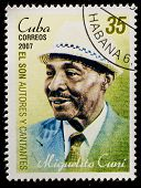 CUBA - CIRCA 2007: A stamp printed in cuba dedicated to authors and singers of Cuban son, shows Miguelito Cuni, circa 2007