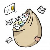 mailbag full with letters cartoon