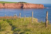 View of the cliffs and lighthouse of Cape Tryon, Prince Edward Island.