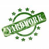 Green Weathered Yardwork Stamp Circle And Stars Design poster