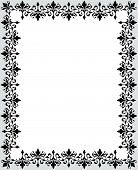 stock photo of scrollwork  - Grey white and black repeating floral scrollwork ornament border - JPG