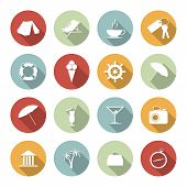 Traveling and vacation flat icons. Vector illustration