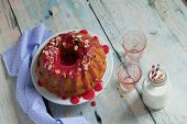 Vanilla Bundt Cake Dessert Topped With Raspberry Glaze Blueberry Raspberry Blackberry