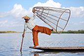 INLE LAKE, MYANMAR �¢�?�? DECEMBER 14, 2013: Fishermen at Inle Lake, Shan State, Myanmar Intha p