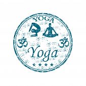 Yoga grunge rubber stamp