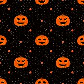 Black Seamless Textured Polka Dots Pattern With Halloween Pumpkin