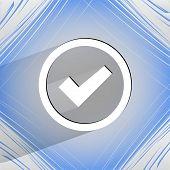check mark. Flat modern web design on a flat geometric abstract background