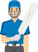 Illustration of a Man Dressed as a Cricket Batter