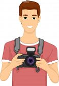 picture of memento  - Illustration of a Man Holding a DSLR Camera - JPG