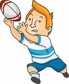 Illustration of a Rugby Player Catching a Rugby Ball