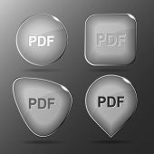 Pdf. Glass buttons. Raster illustration.