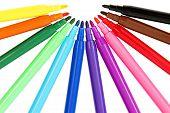 Colorful Set of Felt Pens, Isolated on White Background