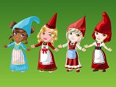 image of gnome  - Gnome girls in native outfit on green background - JPG
