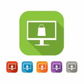 Color set of flat online shopping icon