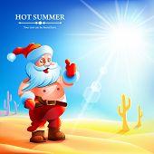 Santa Claus hot in summer.