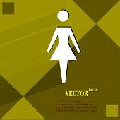 woman restroom. Flat modern web design on a flat geometric abstract background