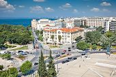 Aerial panoramic view of  the  Platia Chanth in Thessaloniki city, Greece.