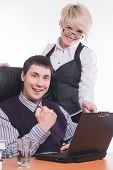Businessman with colleague work with laptop