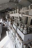 Engines Diesel In Locomotive In Vertical