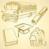 Sketch School Bus, Book, Backpack