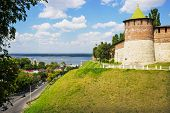 Russia, Nizhny Novgorod: Powerful Round Tower On The Green Hills