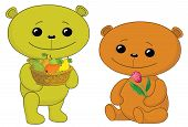 Teddy bears with fruits and flower