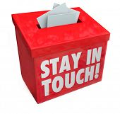 image of bye  - Stay in Touch words on a box for messages - JPG