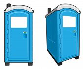stock photo of porta-potties  - Illustration of a portable toilet front view and front angle view - JPG