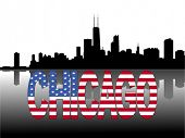 Chicago skyline reflected with American flag text vector illustration