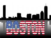 Boston skyline reflected with American flag text vector illustration