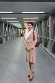 MOSCOW -JUNE 04: Emirates crew member on June 04, 2014 in Moscow, Russia. Emirates handles major par