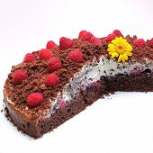 Mole Cake With Cream And Raspberries